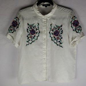 VELVET HEART 100% White Linen Embroidered Blouse